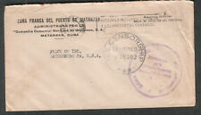 1944 WWII US Censorship penalty cover Zona Franca Del Puerto De Matanzas to PA