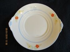 """ART DECO NEW HALL #2690 HAND-PAINTED FLORAL 10"""" CAKE/BREAD PLATE c.1930's EX"""