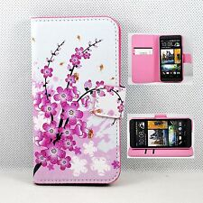 Pink Flower Flip Leather Card Wallet Pouch Cover Stand Case For HTC ONE M7 801e