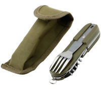 Dishes Picnic Folding Camping Knife Fork Spoon Set Cutlery Dinnerware Tableware