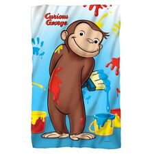 New 36x58 Curious George Paint Fleece Throw Gift Blanket Monkey Cartoon Painting
