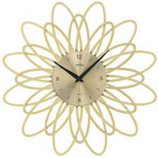 AMS Wanduhr 9361 Quarz goldfarben, florales Design in Kunststoff