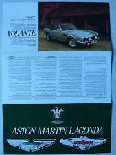 Prospekt Aston Martin Saloon, Volante, Vantage, Lagonda, ca.1983, 6 S., englisch
