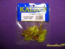 "Kalins Triple Threat Grubs - Curly Tail Grubs 2"" - Green Weenie - Panfish Candy!"