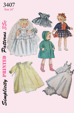 Vintage 16 inch doll clothes sewing pattern with hat - 1950's