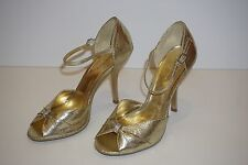 Charolette Russe Gold Open Toe Ankle Strap Heels Size 6 M