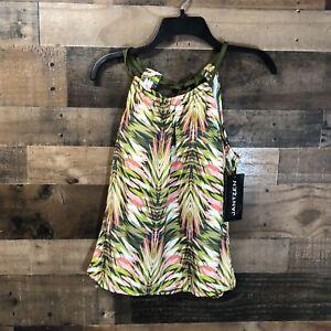 New Jantzen Jungle Palm H-Back Tankini Swim Top Size 8 Olive & Coral