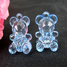 50 Mini Blue Bears for Baby Shower Favor Boy For Party Decor Acrylic Bear14x19mm