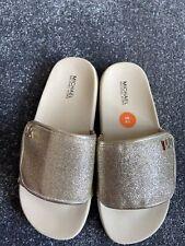 MICHAEL KORS Girls' Sliders Sandals, Glitter Gold, size UK 3 New