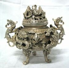 preeminent Tibet silver nine dragon censer Old Statue