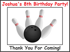 (4) Personalized Bowling Party Stickers, Birthday Bag Labels Favors Supplies