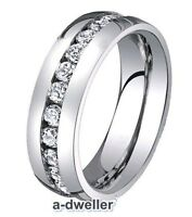 8mm Titanium Mens Eternity Diamond Wedding Band Anniversary Ring All Size 0.55Ct