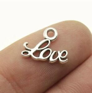 20 pcs Antique Silver Small Love Charm  For Jewellery Making  Pendant DIY