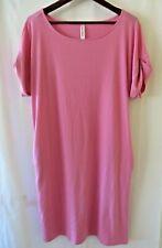 Zenana Premium T Shirt Dress Cuff Short Sleeve Pockets Pink Size L #0565