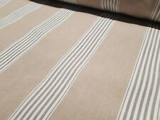 March Stripe Beige| Natural Cotton Romo Style Fabric | Curtains Upholstery