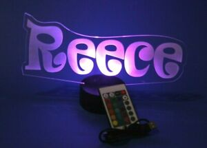 Night Light Up Table Lamp Name Shape LED Personalized Custom Any Name and Remote