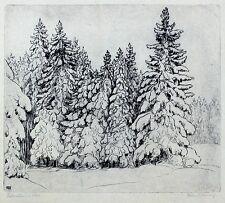 FERDINAND STEININGER - Fichtenwald im Schnee - Radierung 1939