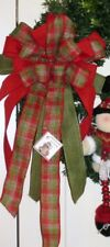 CHRISTMAS PLAID WIRED BOW WREATH SWAG GARLAND MAIL BOX FENCE POST # 49