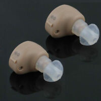 2 x Small In Ear Invisible Best Hearing Aid Aids Adjustable Tone Sound Amplifier