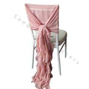 100 Mauve/VintgePnk Chiffon Chiavari Chair Cover Hood & Ruffle Tail Set Wedding