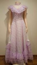 White Floral Lace Lavender Vintage Victorian Style Dance Allure Dress Gown 7/8
