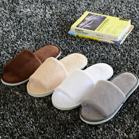 Men Women Unisex Coral Velvet Open Toe Spa Hotel Home Clubs Disposable Slippers