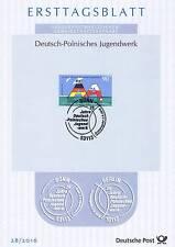 BRD 2016: Deutsch-Polnisches Jugendwerk! Ersttagsblatt der Nr. 3249! 1703