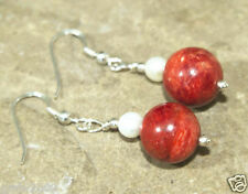 Freshwater Pearl 925 Silver Earrings Vintage Handmade Red Grass Coral White