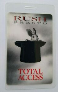 Rush Presto Backstage Pass Original 1990 Concert Tour Hard Rock Music Rabbit Hat