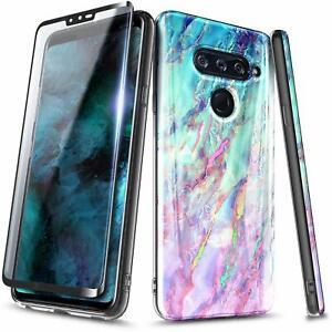 For LG V40 ThinQ / V50 ThinQ Case Ultra Slim Thin Hybrid Cover + Tempered Glass