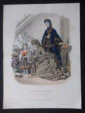 GRAVURE MODE 19e - MODE ILLUSTRÉE - TOILETTES  MME FLADRY  1870  - GRAND FORMAT