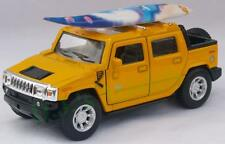 Diecast 1:40 Hummer H2 SUT 2005 with surf board in yellow