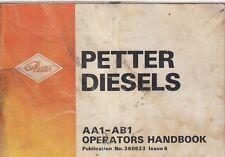 PETTER AA1 & AB1 SERIES DIESEL ENGINE ORIGINAL 1986 OPERATORS HANDBOOK