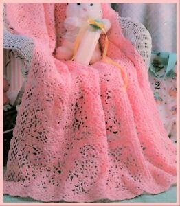 CROCHET PATTERN baby blanket lacy cot pram cover shawl 4ply tablecloth (611)