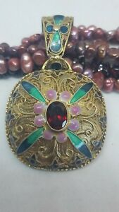 Vintage Chinese Export Silver Gilt Filigree Enamel Pendant Pearl Necklace
