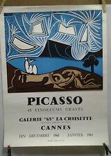 AFFICHE ORIGINALE ANCIENNE EXPOSITION PICASSO GALERIE 65 CANNES 1966