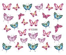Nail Art 3D Decals Transfers Stickers Pink Blue Butterflies (E588)