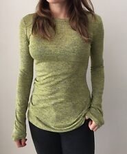 ALEXANDER WANG Chartreuse Marle Long Sleeve Knit with Twisted Back Size XS