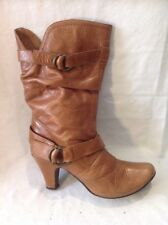 Aldo Brown Mid Calf Leather Boots Size 38