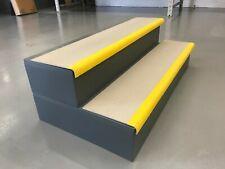 Anti-Slip GRP Heavy Duty Stair Tread Cover Grey Yellow Nosing 1085 x 240 x 30mm