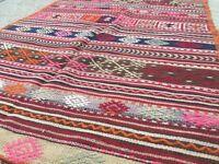 Antique Turkish Kilim Rug shabby vintage old wool country home Kelim 209x125cm