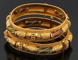 Heavy 22K yellow gold elegant fancy bangle bracelet 2-piece set