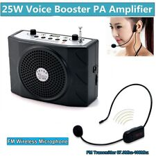 Mini 25W Voice Booster Amplifier+Remote+FM Wireless Microphone For Tour Guides