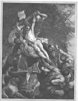 CRUCIFIXION of JESUS CHRIST on Cross ~ Old 1862 Rubens BIBLE Art Print Engraving