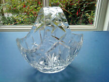 "VINTAGE CUT CRYSTAL GLASS FLOWER BASKET 5.5"" TALL UNSIGNED"