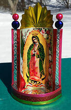 """Mexican Tin Painted Virgen de Guadalupe Chapel Virgin Mary 4"""" x 8"""" of Yellow B"""