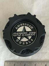 1-American Outlaw Matte Black Wheel Rim Hub Cover 2 Piece Center Cap BC-894 B C