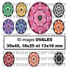 50 Images digitales cabochon Mandala fleur multicolore rose vert bleu OVALE