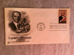 UNITED STATES USA 1984 FDC ART CRAFT CARTER G WOODSON AFRO-AMERICAN HISTORIAN