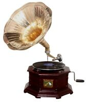Replica Gramophone Player 78 rpm Hex phonograph Brass Horn HMV Vintage Wind up